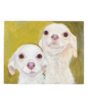 Two white dogs against green background