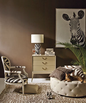 Zebra and cheetah printed room