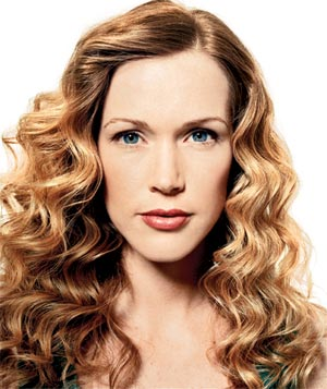 Model with blonde ringlets
