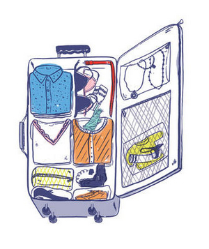 Illustration of a full suitcase