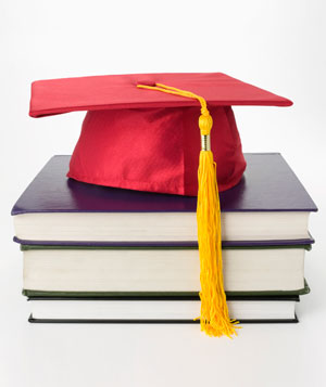 Student cap and books