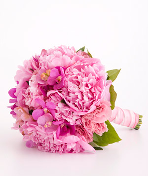 Bouquet of peony, orchid, and lisianthus