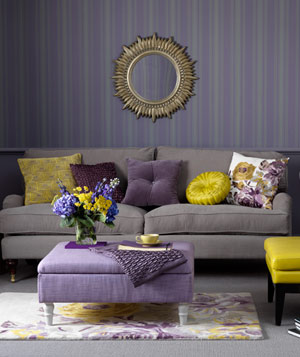 Purple room with yellow decor