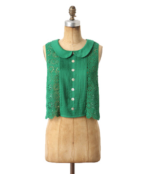 Plenty by Tracy Reese Cropped Lace Peter Pan Collar Blouse