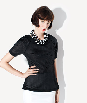 Model Wearing Black Top and Black/White Necklaces