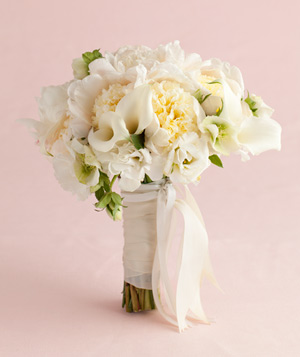 Bouquet of White Peony and Calla Lily Mix