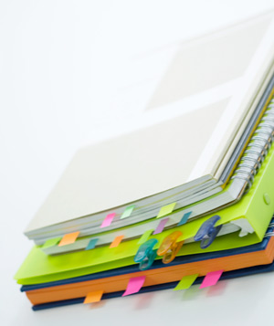 Organized notebooks with post-its