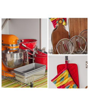 Pots, pans, and oven mitt under the sink