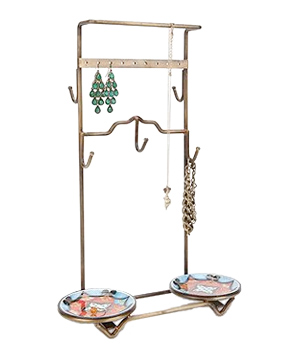 Enameled Dish Jewelry Stand
