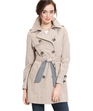 DKNY Trench Coat With Chambray Trim