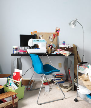 Cluttered messy desk