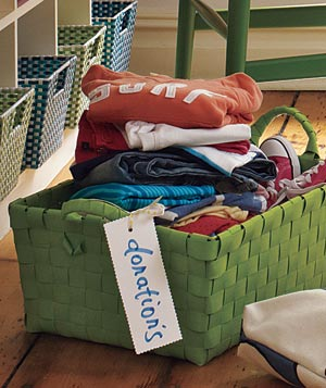 Clothes donations in basket