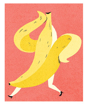 Illustration of a banana wearing high heels