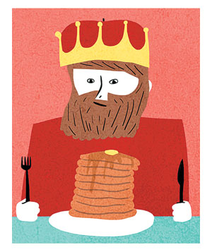 Illustration of a king eating pancakes