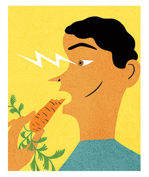 Illustration of a man eating a carrot