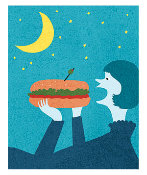 Illustration of a woman eating a sandwich at night