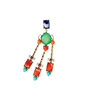 Gerard Yosca Earrings of Hand-Cut Glass, Swarovski Crystals, and Vintage Brass Plate