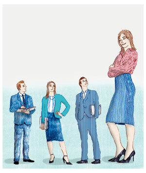 Illustration of one tall woman and three short people