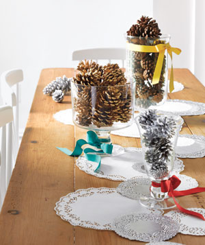 Doily-and-pinecone holiday display