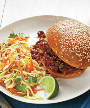 Sweet-and-Sour Sloppy Joes With Sesame Slaw