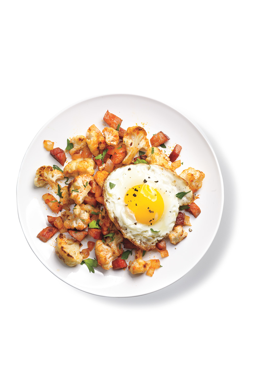 Cauliflower and Ham Hash