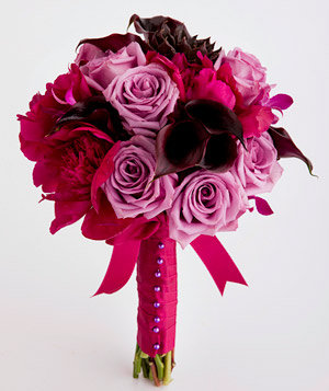 Bouquet of calla lily, peony, and rose