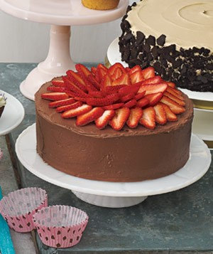 Yellow Cake With Fresh Strawberry Filling, Chocolate Sour Cream Frosting, and Strawberries