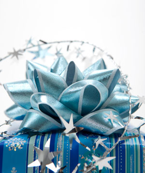 Blue present with silver stars
