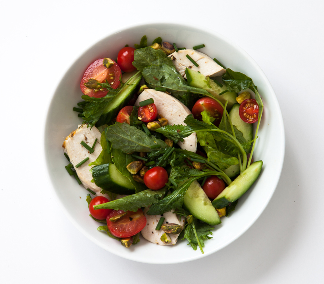 Chicken, Baby Kale, Tomato, Cucumber, Pistachio, and Chive Salad