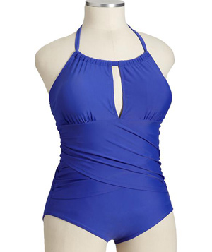 Old Navy Plus Ruched Silt-Neck Swimsuit
