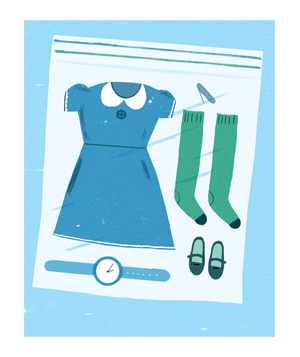 Illustration of an outfit in a plastic ziploc bag