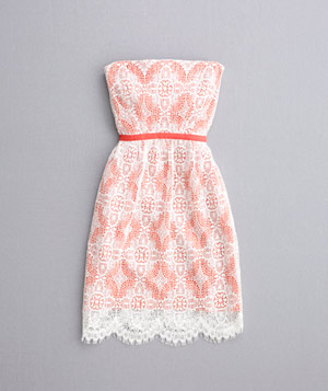 Orange and white strapless lace dress
