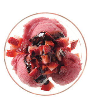 Strawberry Sorbet With Balsamic Syrup