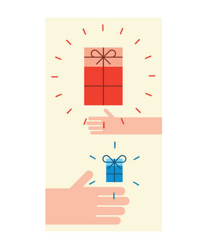 Illustration of hands holding a small gift and a large gift