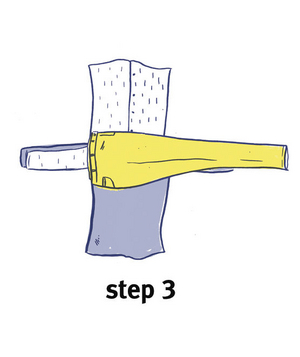 Illustration of how to bundle clothing, step 3