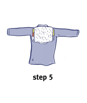 Illustration of how to bundle clothing, step 5