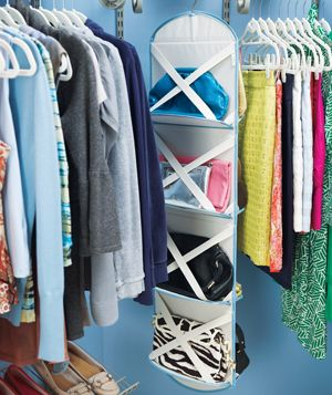 Closet with clothes rack