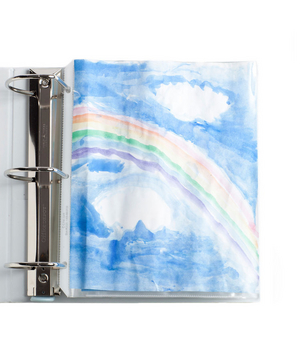 Watercolor painting in a binder