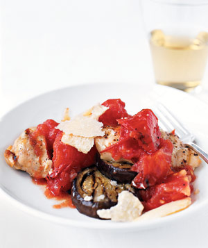 Grilled chicken is paired with tomatoes and eggplant (note: no mozzarella) for a lighter version of an old favorite.