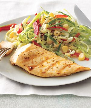 Grilled Lemon Chicken With Cabbage-Corn Slaw