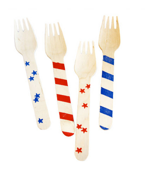 Stars and Stripes Wooden Forks