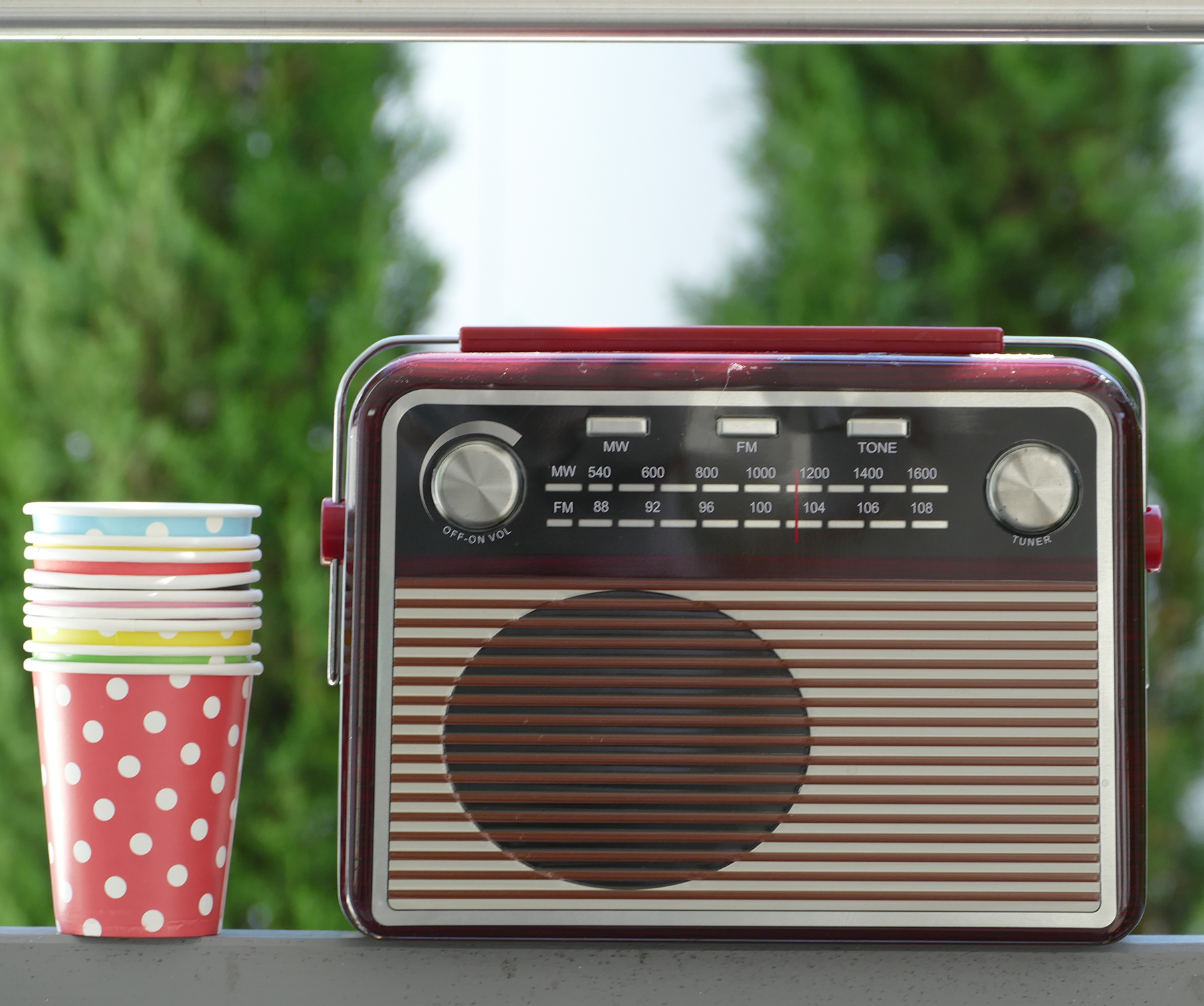 Radio with party cups