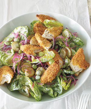 Crispy Chicken Salad With Pickles and Lima Beans