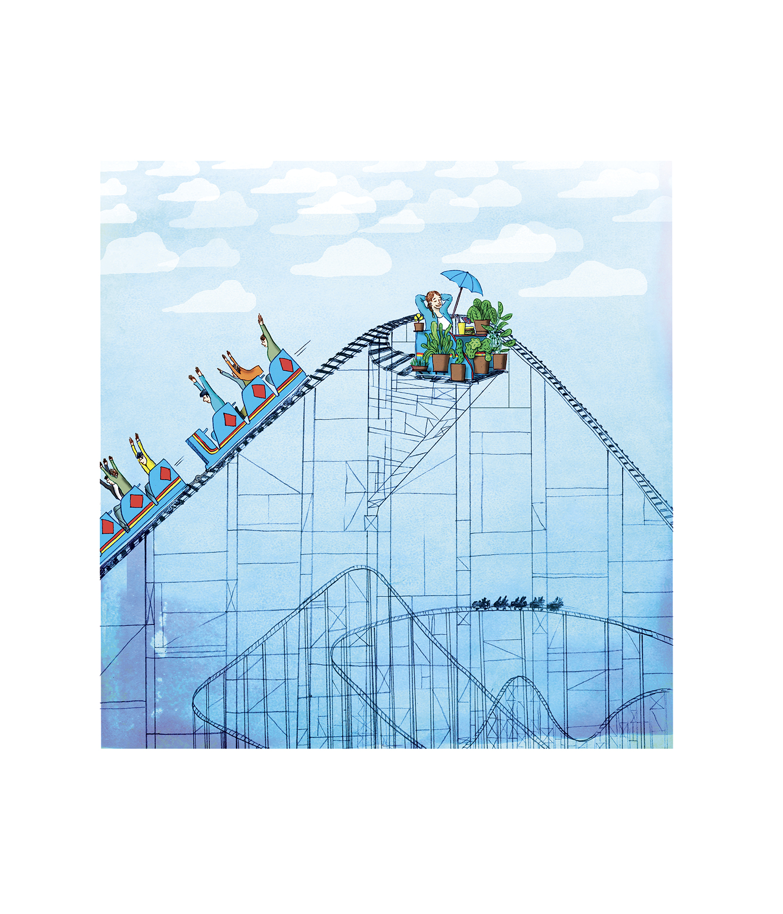 Illustration of a woman sitting at the top of a rollercoaster
