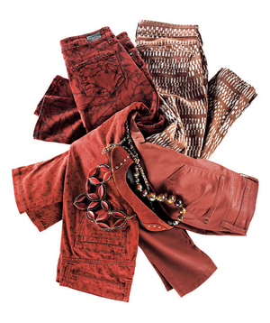 Red and rust colored jeans