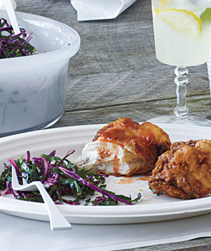 Spicy Fried Chicken With Kale and Cabbage Slaw