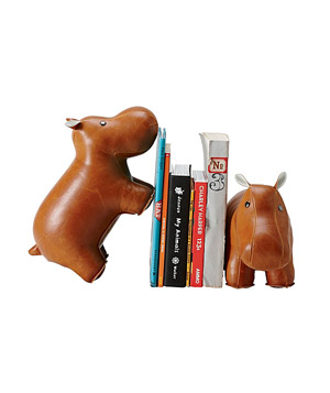 Brown Hippo Menagerie Bookends
