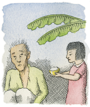 Illustration of a little girl giving an old man rice