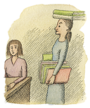 Illustration of a woman balancing books on her head