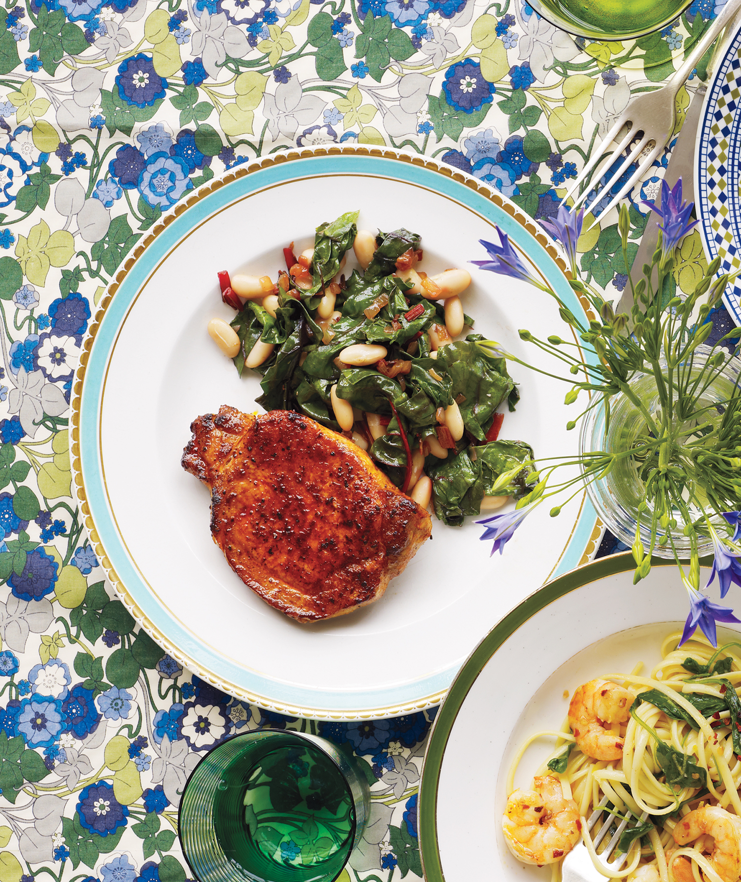 Pork Chops With Chard and White Beans
